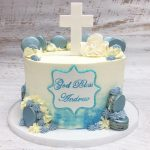 blue ombre religious with macaron